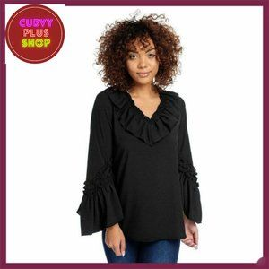 Black Tunic Top with Bell Sleeve and Ruffle